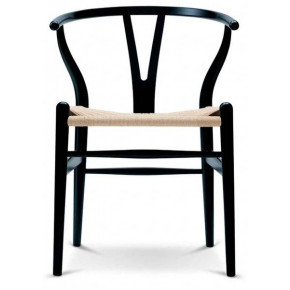 Set 4 sedie CH24 Wishbone Chair Carl Hansen & Son Rovere nero